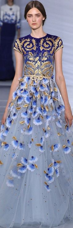 Georges Hobeika Couture Fall 2015 catwalk high fashion blue and gold dress Look Fashion, Runway Fashion, High Fashion, Fashion Show, Fashion Clothes, Couture Clothes, Couture Dresses, Lolita Fashion, Fashion Pants