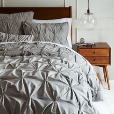 Organic Cotton Pintuck Duvet Cover + Shams - Feather Gray | west elm | $139 for king-size duvet