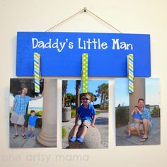 Happy Father's Day: A Photo Project | We loved this photo creation from Oneartsymama.com! Photos can be interchanged every year for this special occasion.