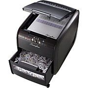 Perfect for deskside use. Simply toss in up to 60 sheets and shut the lid to start automatic shredding; available at Office Depot, Office Max, Staples & Amazon