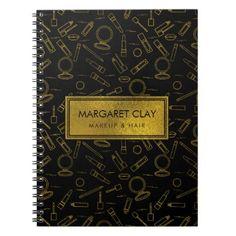 Gold makeup pattern on black notebook - patterns pattern special unique design gift idea diy