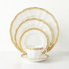 """Royal Crown Derby """"Carlton Gold"""" dinnerware set, from Bloomingdale's. Royal Crown Derby, Crown Royal, Fine China Patterns, Wedding China, China Tea Sets, China Cups And Saucers, Gold Pattern, Inspirational Gifts, Plates"""