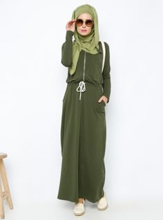 Beli Bağcıklı Elbise - Haki - Everyday Basic