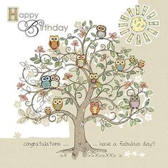 Owl Tree by Jane Crowther for Bug Art greeting cards.