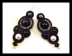 Soutache earrings glass pearls hematite Maya's by Mayasbijou €17.01 EUR on Etsy.com
