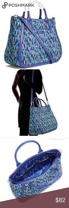 VERA BRADLEY TRAPEZE TOTE KATALINA SHOWERS GORGEOUS JEM TONE 2018 TREND  CROSSBODY BAG  LARGE SIZE  SADDLE BAG WITH DETACHABLE STRAP  SILVER COLOR HARDWARE  SN 14429-296951   RN 8600331141   AUTHENTIC LEATHER AND COTTON 100 %  19 INCHES WIDE    12 INCHES HIGHT   9 INCHES HANDLE DOWN   42 SHOULDER STRAP DETACHABLE    NEW WITH TAGS VERA BRADLEY TRAPEZE TOTE KATALINA SHOWERS. Vera Bradley Bags Crossbody Bags