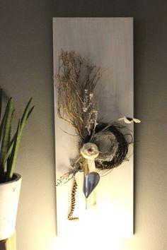 Fabulous WD u Zeitlose Wanddeko Wanddeko aus neuem Holz wei gebeizt dekoriert mit nat rlichen Materialien