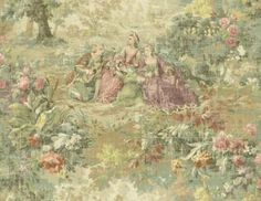 Pink French Toile Wallpaper | Wallpaper Designer Traditional French Scenic Toile Plum Green Pink ...