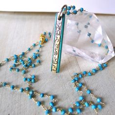 """38"""" Turquoise Beaded Rosary Necklace with Tibetan Om Prayer Stick Pendant by 137point5"""