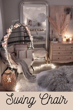 Would you like to have a swing chair in your bedroom? Cute Bedroom Decor, Room Design Bedroom, Bedroom Decor For Teen Girls, Girl Bedroom Designs, Stylish Bedroom, Room Ideas Bedroom, Small Room Bedroom, Bedroom Seating, Dream Teen Bedrooms