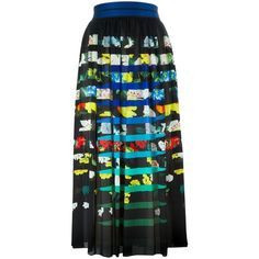 Mary Katrantzou Santhus Pleated Skirt ($1,535) ❤ liked on Polyvore featuring skirts, black, black pleated skirt, high waisted pleated skirt, high-waisted skirts, floral skirt and black skirt