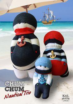 Sock Doll CHUM CHUM -- Nautical Trio