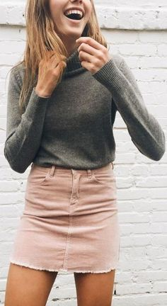 Pink corduroy skirt and turtleneck top@chrissypowers