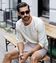 "Menstyled: "" (via mrqqs) "" handsome bearded men mens fashion:cat, Rugged Style, Handsome Bearded Men, Mens Fashion Blazer, Fallout 3, My Guy, Stylish Men, Look Fashion, Fashion Fashion, Body"