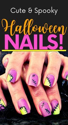 Diy Nail Designs, Short Nail Designs, Simple Nail Designs, Fall Toe Nail Designs, Cute Halloween Nails, Halloween Nail Designs, Cute Short Nails, Cute Nails, Nail Art Diy