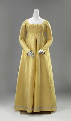 Day Dress Idea for Charlotte Gown of canary yellow silk with high waist, diamond-shaped back yoke, long sleeves and along the rokzoom trimmed with white and yellow silk trimmings with tassels, ca. 1790 - ca. 1800s Fashion, 19th Century Fashion, Vintage Fashion, Victorian Fashion, 18th Century, Fashion Fashion, Regency Dress, Regency Era, 1920s Dress