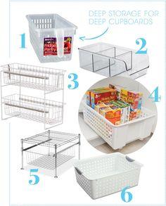 How to organize deep cupboards? Deep Cupboard Organization, Small Pantry Cabinet, Kitchen Organization Pantry, Kitchen Storage Solutions, Home Organization, Pantry Ideas, Organized Kitchen, Organization Ideas, Storage Ideas