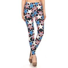 45feb3c1124324 Free Shipping. Buy Fashion Patriotic Striped Stars Print High Waist Leggings  at Walmart.com