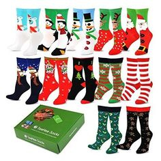 TeeHee Christmas Holiday 12-Pack Gift Socks for Women with Gift Box  #Box #Casual