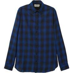 MANGO MAN Slim-fit check flannel shirt (3.490 RUB) ❤ liked on Polyvore featuring men's fashion, men's clothing, men's shirts, men's casual shirts, vibrant blue, checked flannel shirt, checkered shirt, long-sleeve shirt, blue long sleeve shirt and blue flannel shirt