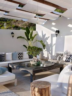 Cozy outdoor coastal space with plenty of seating