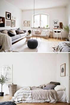 This cozy one bedroom apartment, which measure only 33m², is located in a quiet street in Stockholm, Sweden. The building was built in 1925 in a 20th century classical style by architect Conny Nyquist
