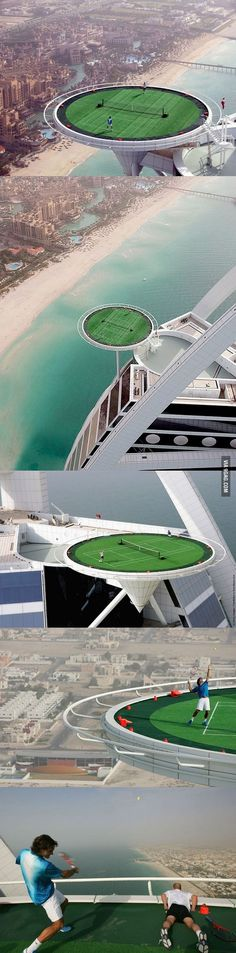 World's Highest Tennis Court in Dubai. - World's Highest Tennis Court in Dubai. what if you hit the ball out, miss, or your opponent sucks……….your screwed then. Tennis Tips, Sport Tennis, Le Tennis, Tennis Clubs, Tennis Players, Tennis Tournaments, Roger Federer, Ansel Adams, Sport