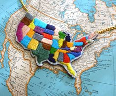 Map of the United States Hand Embroidered Necklace by ilgattoselvatico, $68.00