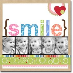 Smile - Use stamps and embossing powder on the title - 5 small Photos