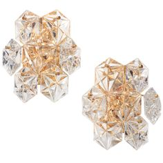 Pair of Faceted Crystal Sconces by Kinkeldey | From a unique collection of antique and modern wall lights and sconces at http://www.1stdibs.com/furniture/lighting/sconces-wall-lights/