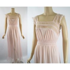 Vintage 1960s Nightgown Pink Nylon and Chiffon Negligee by Luxite Sz... ($57) ❤ liked on Polyvore featuring intimates, sleepwear, nightgowns, vintage sleepwear, sheer nightdress, sheer nightie, vintage sheer nightgowns and nylon nightgowns