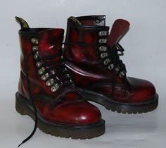 Doc Martens Vintage Boots Cherry Red Black Oxblood USA 8 Goth Punk Airwair RARE Women's size 8 Mens size 6 MADE IN ENGLAND