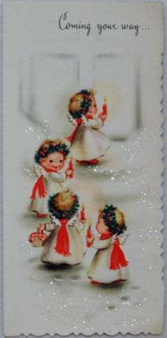 Glittered Angels at the Door-Vintage Christmas Greeting Card Vintage Christmas Images, Retro Christmas, Christmas Love, Vintage Holiday, Christmas Pictures, Christmas Angels, Old Time Christmas, Old Fashioned Christmas, Christmas Scenes