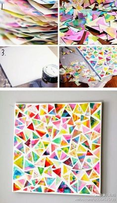 recycle colorful magazine pages into a rainbow mosaic, great page design, notebook cover, rainy day activity