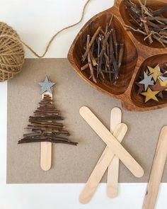 Stick Tree Ornaments 🍂 This is a beautiful and simple Christmas decoration made with sticks. If you live in Perth, you will have an… Cool Christmas Trees, Christmas Gift Decorations, Christmas Mood, Simple Christmas, Christmas Gifts, Christmas Ornaments, Christmas Crafts For Kids, Christmas Activities, Holiday Crafts