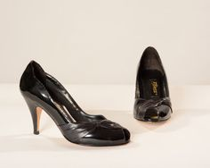 1980's shoes | Vintage 1980s Shoes Peep Toe Black High Heels Patent Leather Bow Size ...