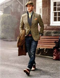 Shop this look on Lookastic:  https://lookastic.com/men/looks/trenchcoat-blazer-zip-neck-sweater-long-sleeve-shirt-jeans-boots-flat-cap-tie-pocket-square-belt/5806  — Brown Flat Cap  — Grey Long Sleeve Shirt  — Yellow Print Tie  — Orange Pocket Square  — Navy Zip Neck Sweater  — Tan Blazer  — Brown Leather Belt  — Brown Trenchcoat  — Navy Jeans  — Burgundy Leather Boots