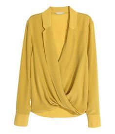 H&M Wraparound Silk Blouse inYellow, Wrap Blouse, Blouse Dress, Hijab Fashion, Fashion Dresses, Gothic Fashion, Hijab Stile, Costura Fashion, Blouse Models, Beautiful Blouses