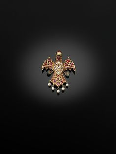 Private Collection UK, from through Sold at Bonhams, London on 4 October 2011 (Lot from a Private English Collection; Jewelry Design Earrings, Bird Jewelry, Jewellery Designs, Pendant Jewelry, Mughal Jewelry, Antique Jewellery, Indian Jewelry, Gold Pendant, Diamond Pendant