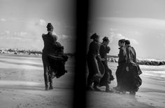 Models don black looks for Vogue Italia lensed by Peter Lindbergh