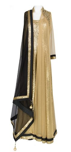 Golden Sequins Layered Anarkali with dupatta, by Lux Shoppe