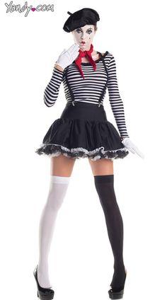 Mesmerizing Mime Costume, Sexy Mime Costume, Mime Halloween Costume