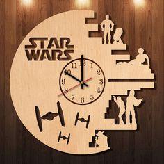 Star Wars Wood Clock, Star Wars Wall clock, Star Wars Clock, Star Wars Home decor, Star Wars decor, Star Wars Wall Decor, Star Wars Room art