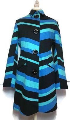 Vesti Coat Jacket 10 Modern Stretch Striped Lined Teal Blue Black Bold Boho  | eBay