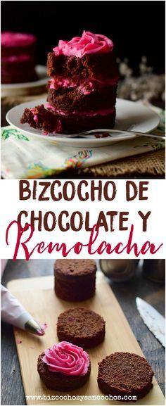 Bizcocho de chocolate y remolacha, esponjoso, húmedo y fragante, muy casero y fácil de hacer, decorado con glaseado de queso crema que también tiene un toque de remolacha