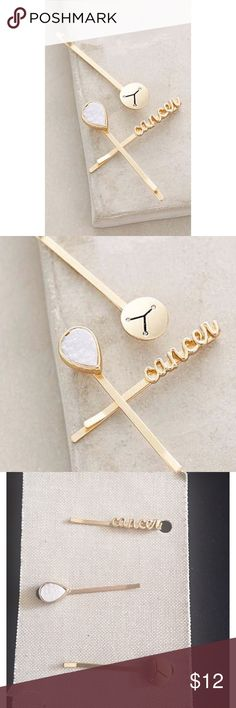 ANTHROPOLOGIE ZODIAC SIGNS BOBBY HAIR PINS CANCER ANTHROPOLOGIE ZODIAC SIGNS BOBBY SET -HAIR PINS. Set of 3, gold toned, love these ❣️ bundle 2+ items in my store for 20% off. Hair accessories hair barrette Bobby pin Anthropologie Accessories Hair Accessories