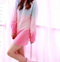 Sweater dresses,Gradient rainbow sweater dress