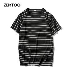 Striped T shirt Men Summer Cool Short Sleeve T-Shirt Male Slim Fit Casual Tee  Brand Fashion Black White T-Shirt Homme  ZE0279