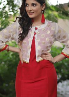 Red cotton silk dress with benarasi top – Sujatra Kurti Sleeves Design, Sleeves Designs For Dresses, Neck Designs For Suits, Kurta Neck Design, Blouse Neck Designs, Silk Kurti Designs, Kurta Designs Women, Kurti Designs Party Wear, Salwar Designs