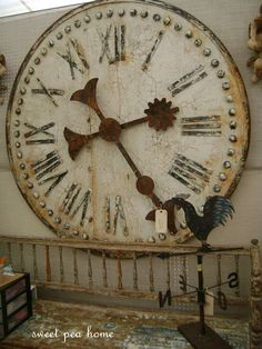 Wonderful old large antique clock. I love LOVE love this clock! Big Clocks, Cool Clocks, Large Clock, Father Time, Antique Clocks, Vintage Clocks, Clock Decor, Clock Wall, Rustic